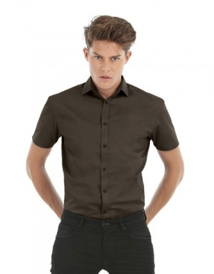 B+C Poplin Shirt Black Tie Short Sleeve