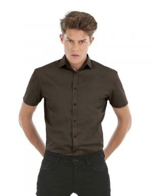 B+C Poplin Shirt Black Tie Short Sleeve