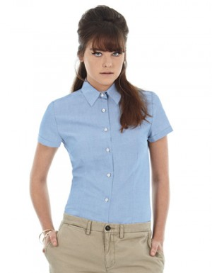 B+C Women´s Oxford Shirt Short Sleeve