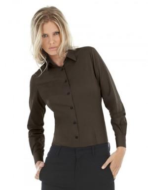 B+C Women´s Poplin Shirt Black Tie Long Sleeve