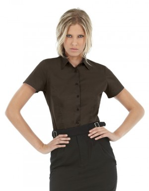 B+C Women´s Poplin Shirt Black Tie Short Sleeve
