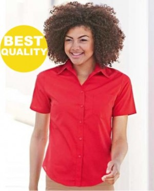 Fruit of the Loom Lady-Fit Short Sleeve Poplin Blouse