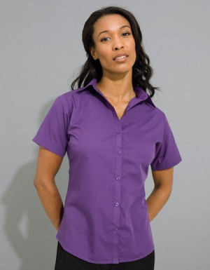 Premier Workwear Ladies Poplin Blouse Short Sleeve (Damenbluse/Kurzarm)