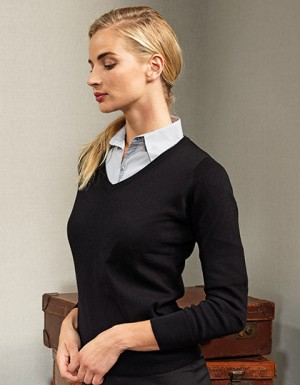 Premier Workwear Ladies V-Neck Knitted Sweater