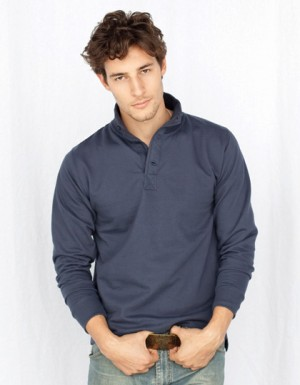 SF Men Mens Button Top Sweat