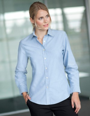 Henbury Ladies Classic Long Sleeved Oxford Shirt