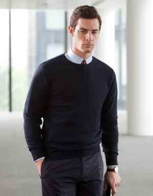 Henbury Men`s Lightweight Crew Neck Jumper