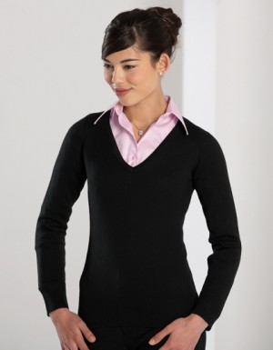 Russell Collection Ladies´ V-Neck Knitted Jumper