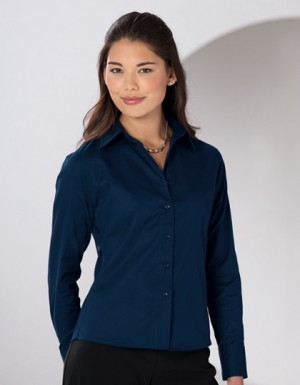 Russell Collection Langärmelige Twill-Bluse