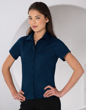 Russell Collection Kurzärmelige Twill-Bluse