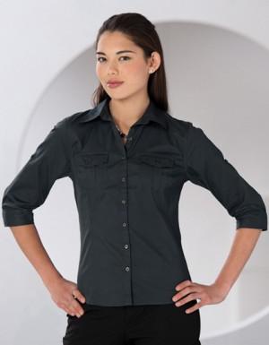 Russell Collection Bluse mit krempelbaren Dreiviertelärmeln