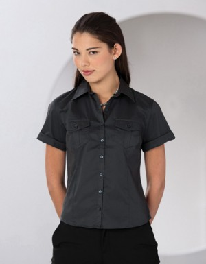 Russell Collection Bluse mit krempelbaren kurzen Ärmeln
