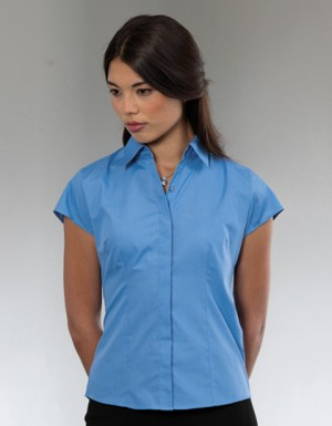Russell Collection Popeline-Bluse mit Cap-Sleeve