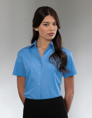 Russell Collection Kurzarm Popeline-Bluse