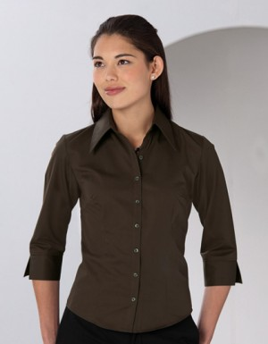 Russell Collection Körperbetonte Bluse aus Tencel® mit 3/4-Ärmeln