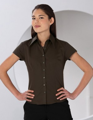 Russell Collection Körperbetonte kurzärmelige Bluse aus Tencel®