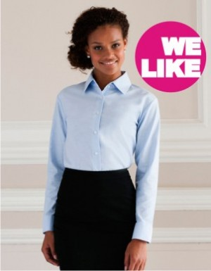 Russell Collection Langärmelige Oxford-Bluse