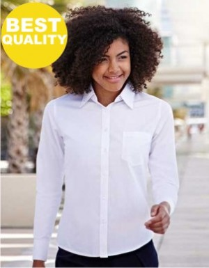 Fruit of the Loom Lady-Fit Long Sleeve Poplin Blouse