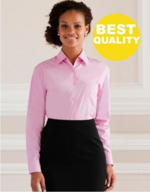 Russell Collection Langarm Popeline-Bluse