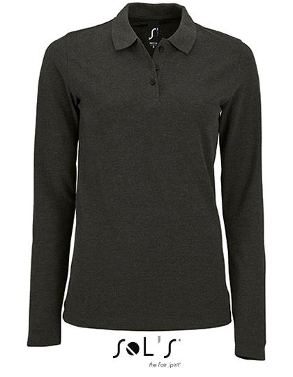 SOL´S Womens Long-Sleeve Piqué Polo Shirt Perfect Charcoal Melange S