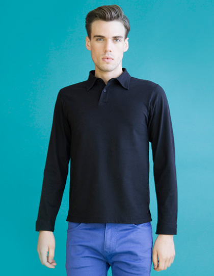 SF Men Mens Long Sleeve Stretch Polo
