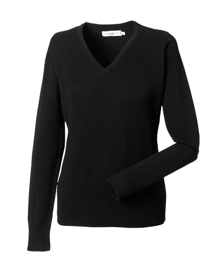 Russell Collection Ladies´ V-Neck Knitted Jumper Black XXS